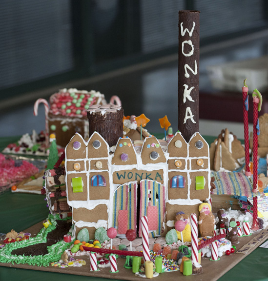 wonka chocolate factory in gingerbread
