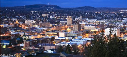 2446 Downtown Bellingham Lights Up at Dusk, Panoramic from WWU Campus C Buff Black
