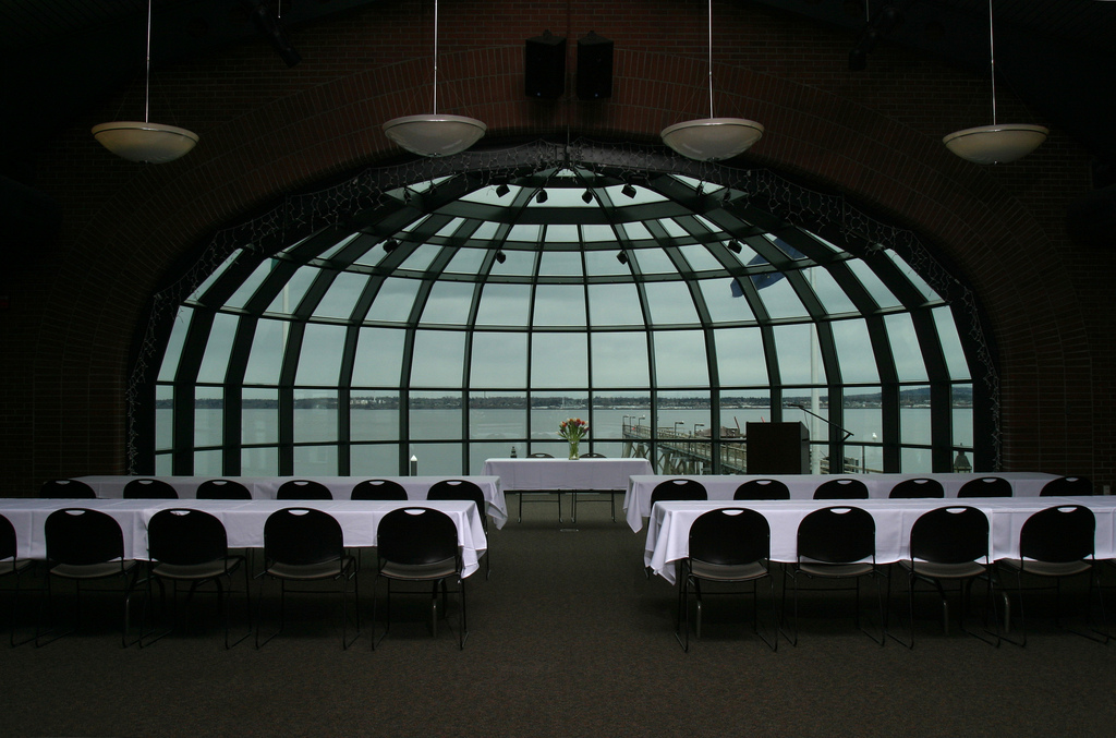 Tables set up in the Bellingham Cruise Terminal dome room
