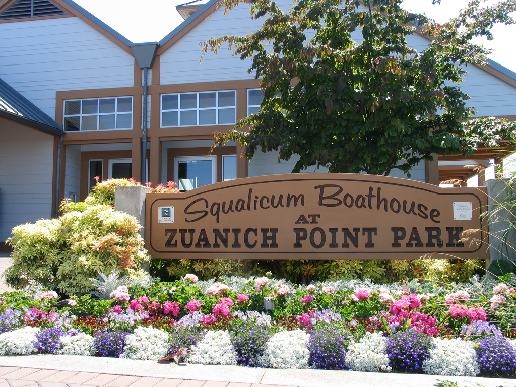 Front of Squalicum Boathouse at Zuanich Point Park