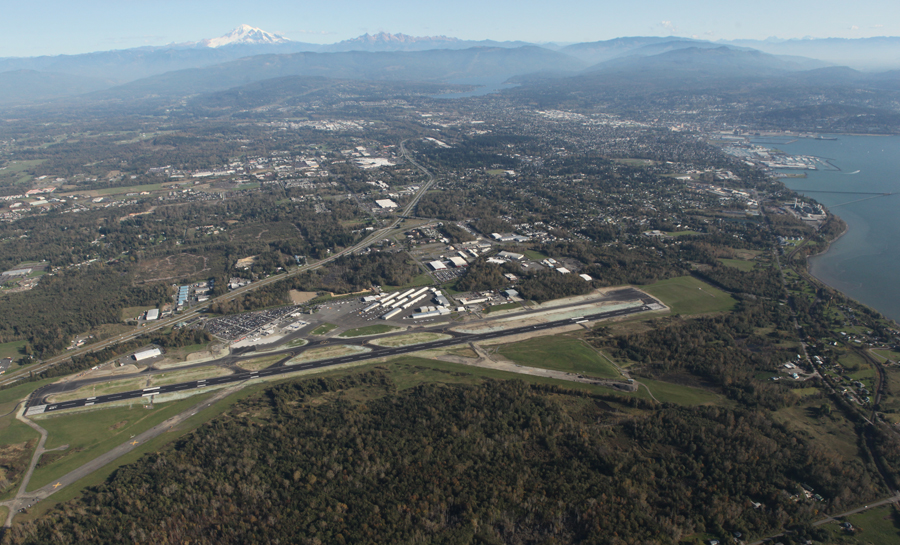 Aerial photo of the Bellingham Airport