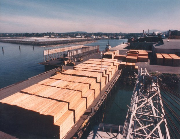 A barge is loaded with lumber.