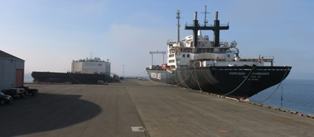 Two large vessels tied up at the dock in 2010.